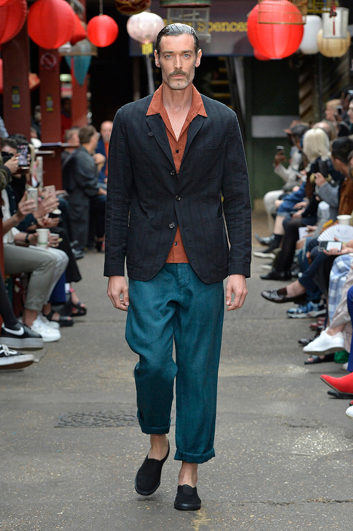 Oliver Spencer, ss 20, mens fashion, hong kong, midcentury, suited, mens fashion, teal, burnt orange, twin piece, wealthy, organic, Portugal,   carbon footprint, eco friendly, sustainable